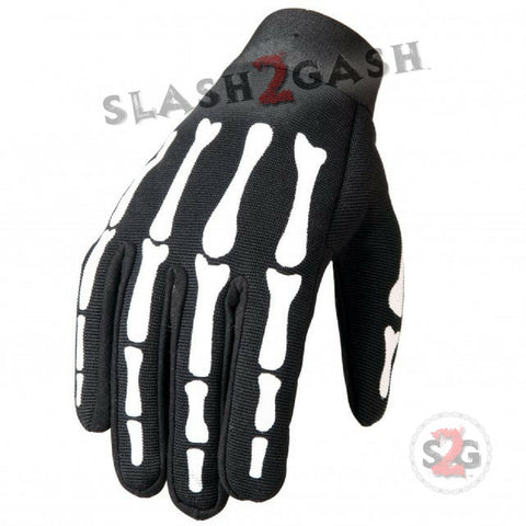 Hot Leathers Skeleton Bones Mechanics Gloves