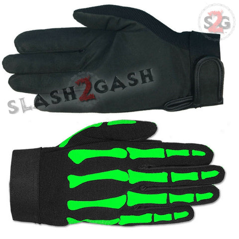 Hot Leathers Green Skeleton Zombie Bones Mechanics Gloves