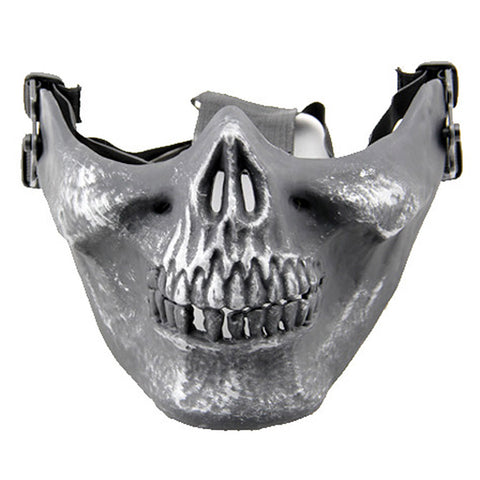 Half Face Wargame Mask Metallic Skeleton Mask Protective Party Festival Face Guard Black Silver