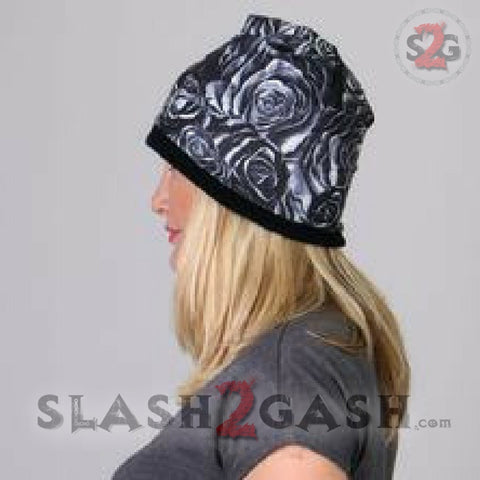 Hot Leathers Sublimated Black Roses Forever Free Beanie 3D Art