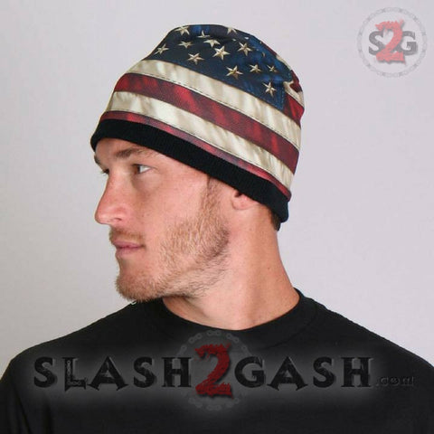 Hot Leathers Sublimated Distressed American Flag Beanie 3D Art