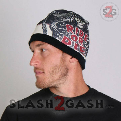 Hot Leathers Sublimated Rough Cut Ride or Die Reaper Beanie 3D Art
