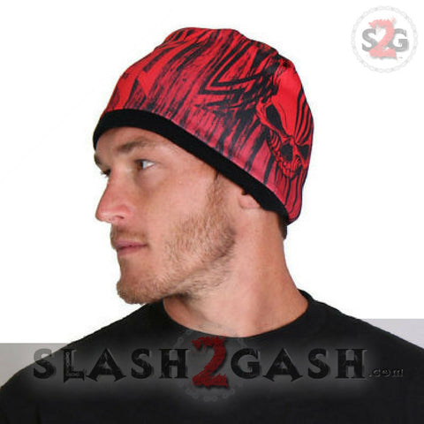 Hot Leathers Sublimated Over The Top Tribal Skull Beanie 3D Art