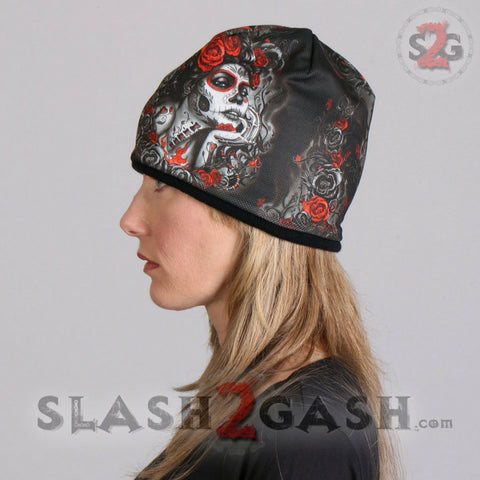 Hot Leathers Sublimated Sugar Woman w/ Roses Beanie 3D Art