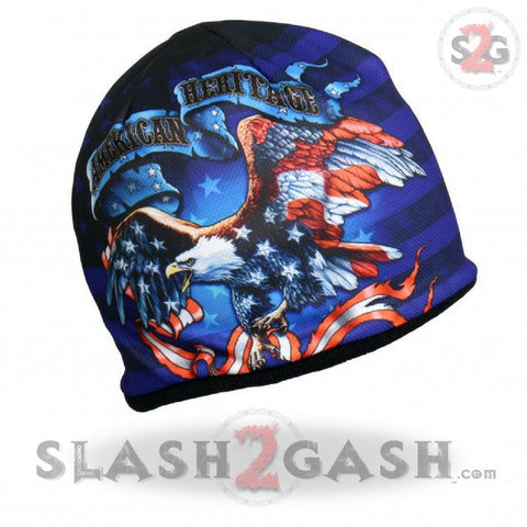 Hot Leathers Sublimated American Heritage Eagle Flag Beanie 3D Art