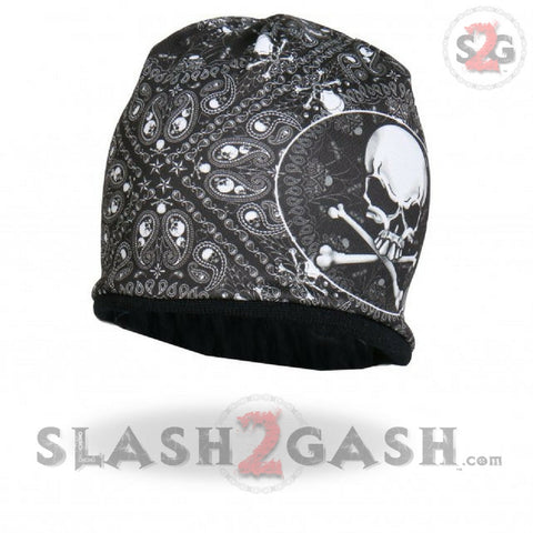 Hot Leathers Sublimated Paisley Skull & Crossbones Beanie 3D Art