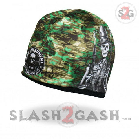 Hot Leathers Sublimated Stovepipe Shotgun Camo Skull Beanie 3D Art