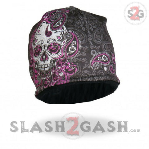 Hot Leathers Sublimated Sugar Paisley 2 Ladies Skull Beanie 3D Art