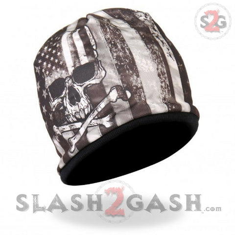 Hot Leathers Flag Skull Sublimated Beanie 3D Art