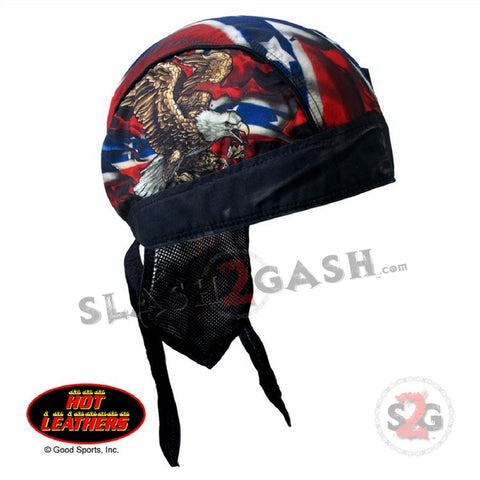 Hot Leathers Premium Head Wrap Rebel Flag Eagle Motorcycle Durag