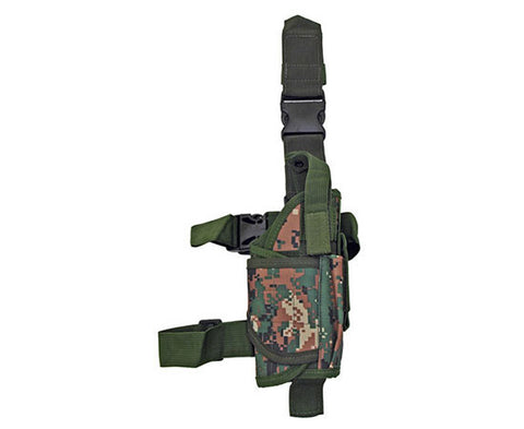Right Handed Universal Tactical Drop Leg Holster - Woodland Digital Camo
