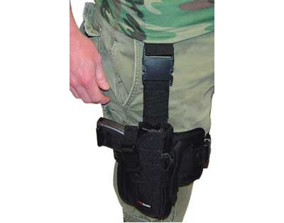 Right Handed Deluxe Tactical Drop Leg Holster w/ Removable Hip - Black