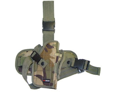 Right Handed Deluxe Tactical Drop Leg Holster w/ Removable Hip - Woodland Camo