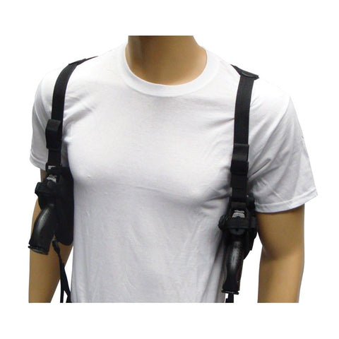 Double Draw Deluxe Tactical Shoulder Holster w/ Spare Mags- Black