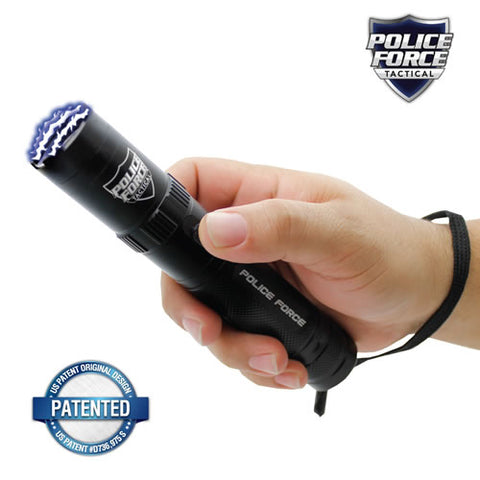 Police Force 9.2MV Tactical Stun Gun Flashlight w/ 5 LED Modes - Black PF9200BK