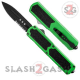 Titan OTF Dual Action GREEN Tactical Automatic Knife Serrated Edge Dagger