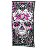 Hot Leathers Pink Sugar Skull Multi-Colored Beach Towel