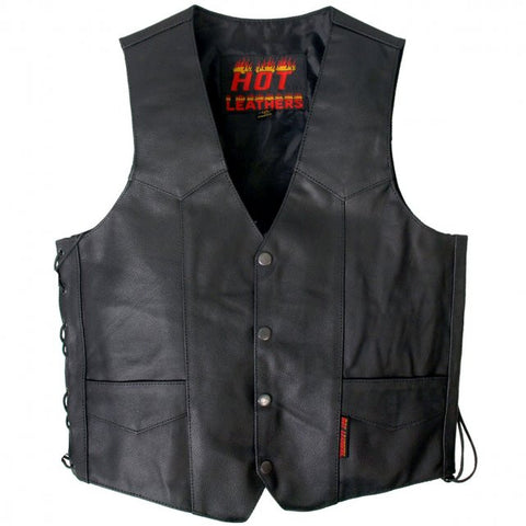 Hot Leathers Men's Cowhide Leather Vest w/ Side Lace