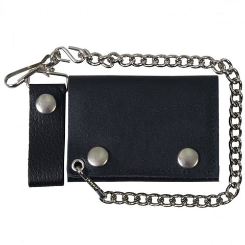 Hot Leathers Classic Black Leather Wallet w/ Chain American Made USA