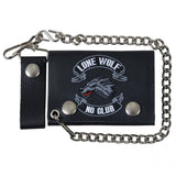 Hot Leathers Lone Wolf Leather Wallet w/ Chain American Made USA