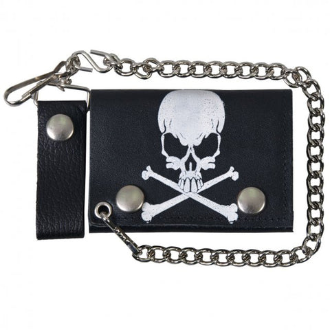 Hot Leathers Skull and Crossbones Leather Wallet w/ Chain American Made USA