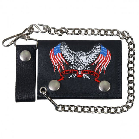 Hot Leathers Support Our Troops Leather Wallet w/ Chain American Made USA