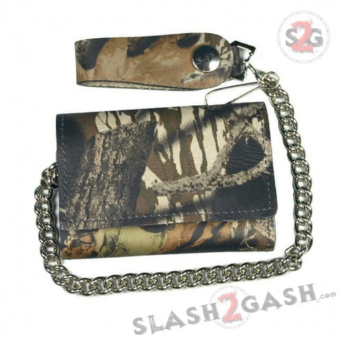 Hot Leathers Hunting Camo Leather Wallet w/ Chain American Made USA