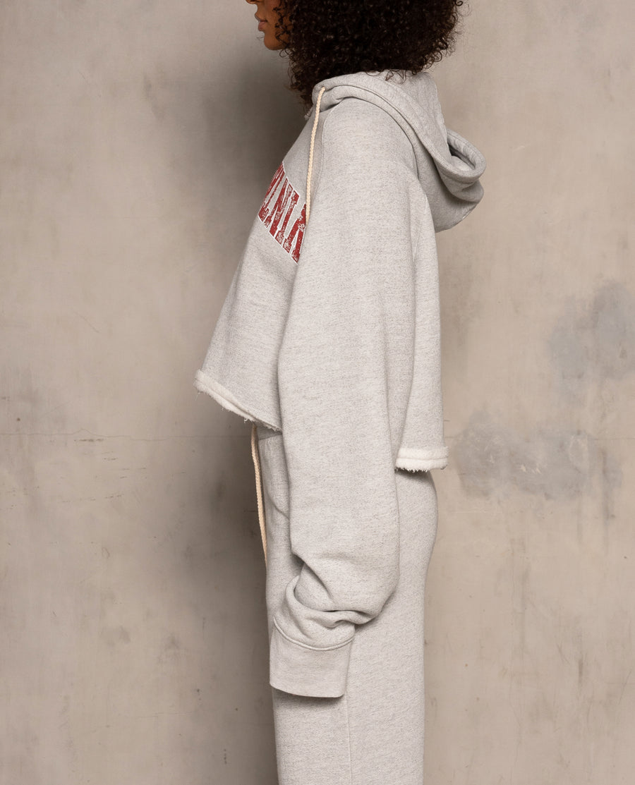 Varsity Logo Raw Edge Hoodie - Heather Grey