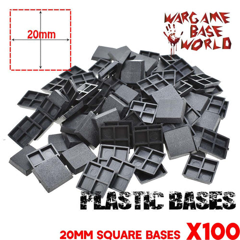 warhammer bases - Wargmae Base World - Lot of 100 20mm Square Miniatures bases - Plastic wargame bases - WargameBase Store