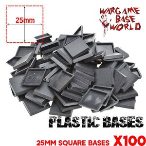 Wargame Base World - Lot of 100 25mm square bases for warhammer bases - WargameBase Store