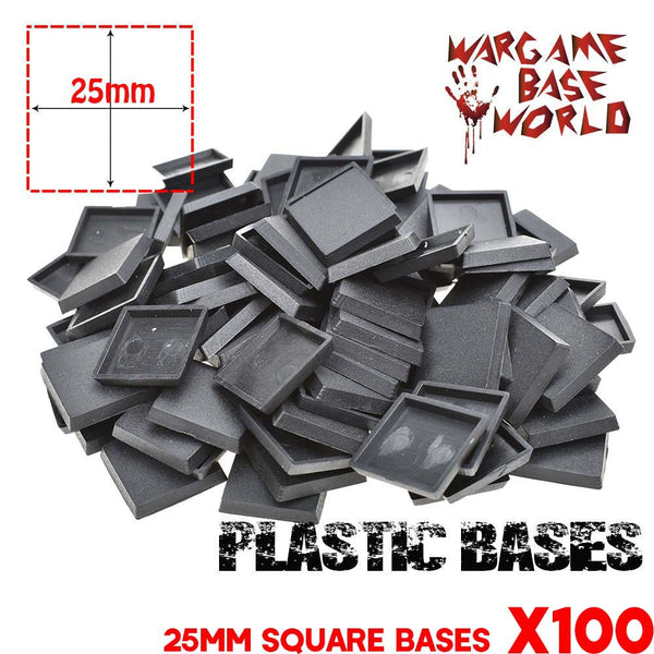 warhammer bases - Wargame Base World - Lot of 100 25mm square bases for warhammer bases - Plastic wargame bases - WargameBase Store