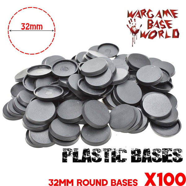 warhammer bases - Wargame Base World - Lot of 100 32mm round bases for warhammer - Plastic wargame bases - HeyyoucCast Workshop