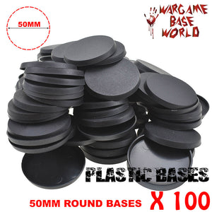 Wargame Base World - Lot of 100 -  50mm round plastic bases - WargameBase Store