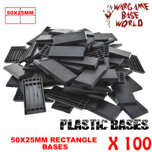 Wargame Base World - Lot of 100 - 50x25mm rectangular plastic bases - WargameBase Store