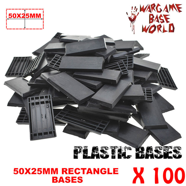 warhammer bases - Wargame Base World - Lot of 100 - 50x25mm rectangular plastic bases - Plastic wargame bases - HeyyoucCast Workshop