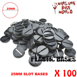 warhammer bases - Wargame Base World - Lot of 100 25mm slot round Wargame bases for miniatures - Plastic wargame bases - WargameBase Store