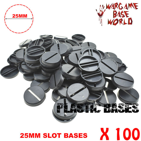 Wargame Base World - Lot of 100 25mm slot round Wargame bases for miniatures - WargameBase Store