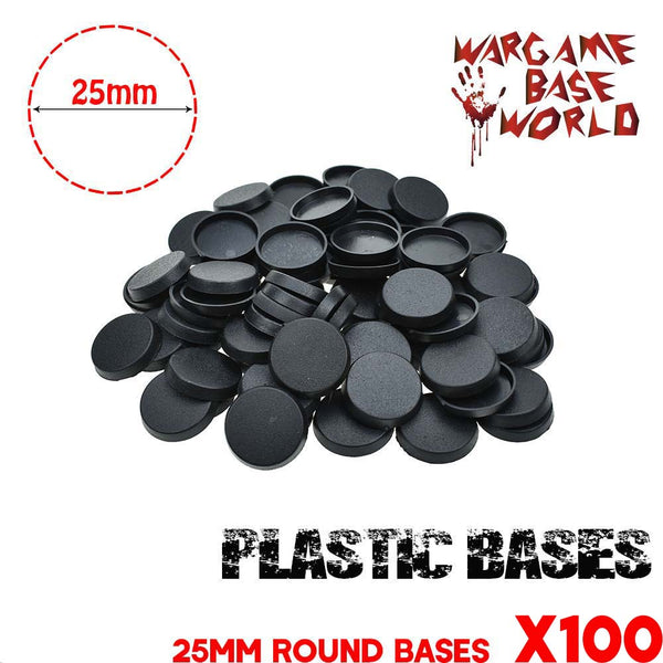 warhammer bases - Wargame Base World - Lot of 100 25mm round Wargame bases for miniatures - Plastic wargame bases - WargameBase Store
