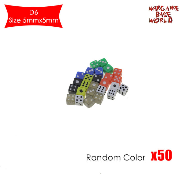 50 Six Sided D6 5mm .197 Inch Die Small Tiny Mini Miniature MultiColored Dice - WargameBase Store