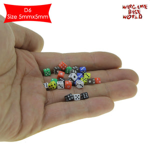 warhammer bases - 50 Six Sided D6 5mm .197 Inch Die Small Tiny Mini Miniature MultiColored Dice - tools - WargameBase Store