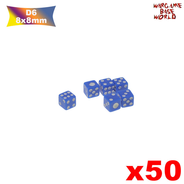 warhammer bases - 50 Six Sided D6 8mm Dice Small Tiny Mini Miniature MultiColored Dice - tools - WargameBase Store