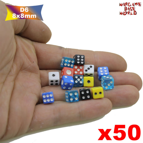 50 Six Sided D6 8mm Dice Small Tiny Mini Miniature MultiColored Dice - WargameBase Store