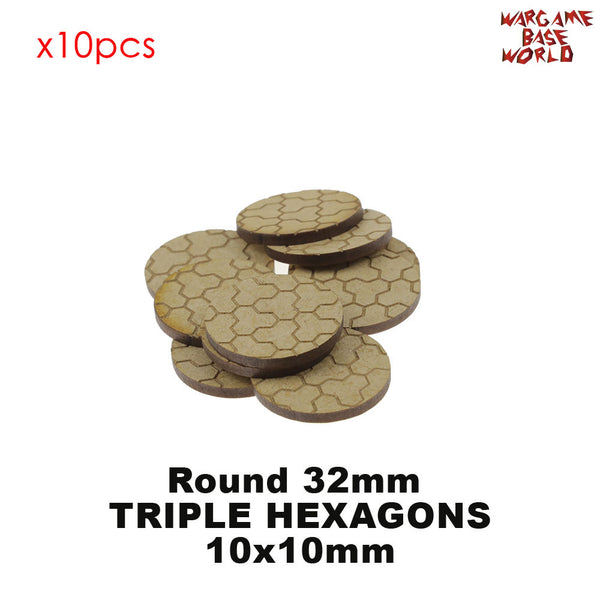 warhammer bases - MDF Texture Bases - Triple Hexagon Texture bases - 25mm-40mm round bases - MDF Texture Bases - WargameBase Store