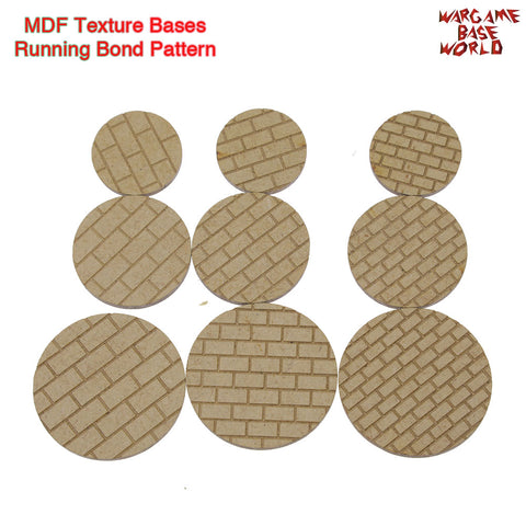 warhammer bases - MDF Textures Bases - Running Bond Pattern Bricks Pavement 25mm-40mm - MDF Texture Bases - WargameBase Store