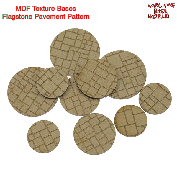 warhammer bases - MDF Texture Bases - Flagstone Pavement Texture bases - 25mm-40mm round bases - MDF Texture Bases - WargameBase Store