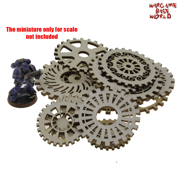 warhammer bases - plywood -  Wood Steampunk Gears -  - WargameBase Store