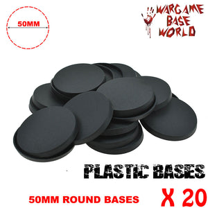 Wargame Base World - Lot of 20 - 50mm round plastic bases - WargameBase Store