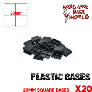 warhammer bases - Lot of 20 - 20mm Miniature square bases for warhammer - Plastic wargame bases - WargameBase Store