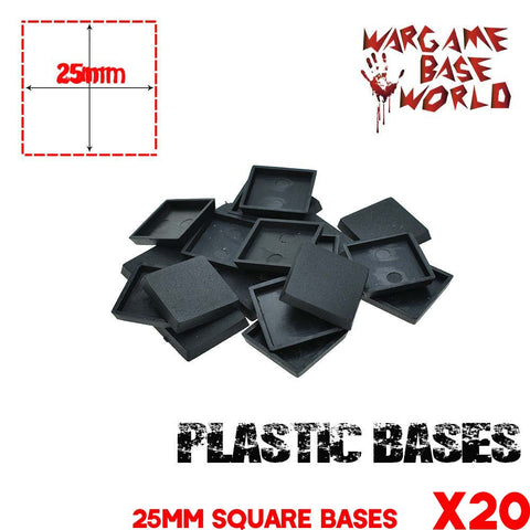 warhammer bases - Wargame Base World - Lot of 20 wargaming square 25mm base for warhammer game - Plastic wargame bases - WargameBase Store