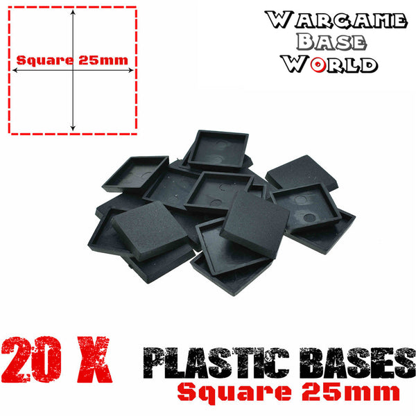 Wargame Base World - Lot of 20 wargaming square 25mm base for warhammer game - WargameBase Store